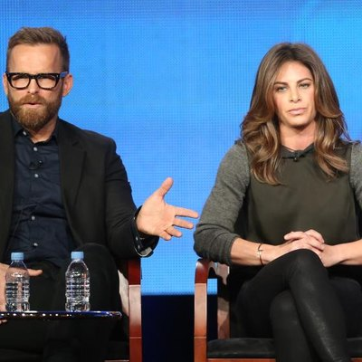"""PASADENA, CA - JANUARY 06: Trainers Bob Harper and Jillian Michaels speak onstage at the """"The Biggest Loser"""" panel discussion during the NBCUniversal portion of the 2013 Winter TCA Tour Day 3 at the Langham Hotel on January 6, 2013, in Pasadena, California. (Photo by Frederick M. Brown/Getty Images)"""