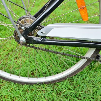 Rear wheel and gear of bicycle in the park
