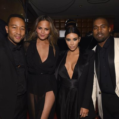 "NEW YORK, NY - JANUARY 08: (EXCLUSIVE COVERAGE) John Legend, Chrissy Teigen, Kim Kardashian and Kanye West attend John Legend Celebrates His Birthday And the 10th Anniversary of His Debut Album ""Get Lifted"" at CATCH NYC on January 8, 2015, in New York City. (Photo by Dimitrios Kambouris/Getty Images for EMM Group)"