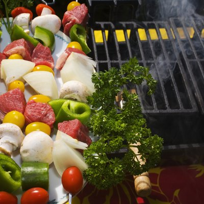 Barbecue scene, Shish kabob ready to be put on the grill.