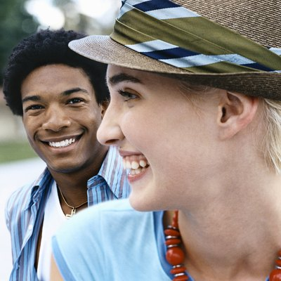 Cool Twentysomething Man and Woman, Close-up of Woman Wearing a Trilby Hat