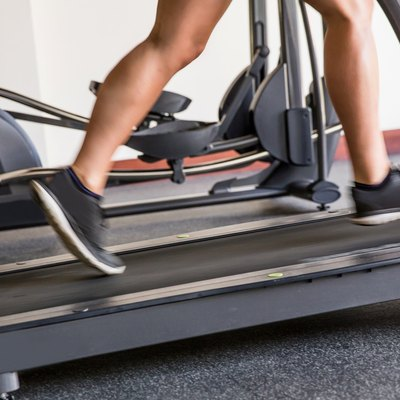Man warming up on treadmill