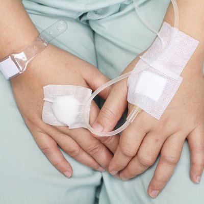 hand swollen by saline intravenous (iv).