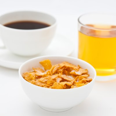Cornflakes with coffee and apple juice