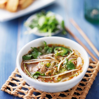 bowl of vietnamese pho with sliced beef