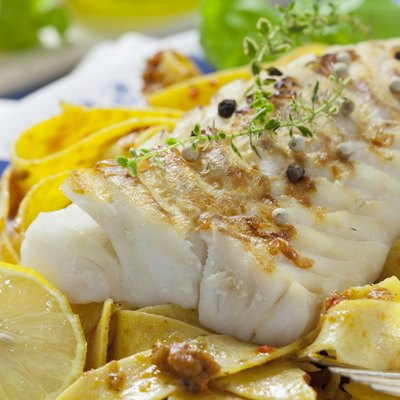 Grilled fish with Italian noodles
