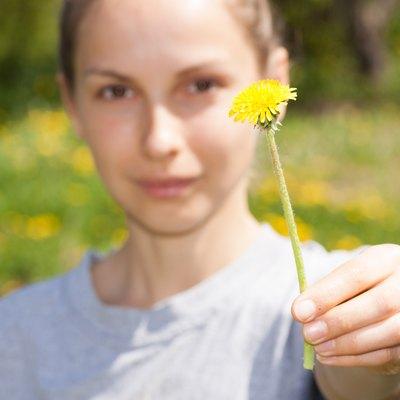 female hand holds a dandelion flower