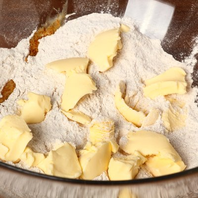 Flour mixture and butter. Making Christmas Gingerbread Cookies