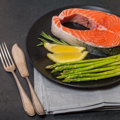Delicious portion of fresh salmon steak
