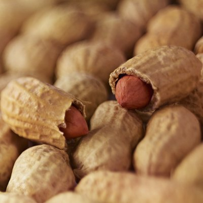 Extreme close up of peanuts in shell
