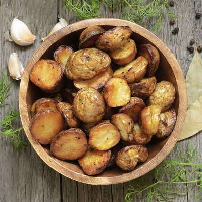 Roasted potato starchy vegetables in bowl
