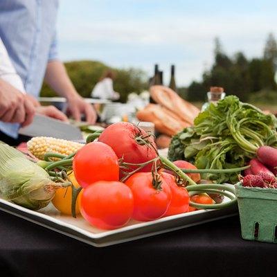 Fresh food being prepared outdoors