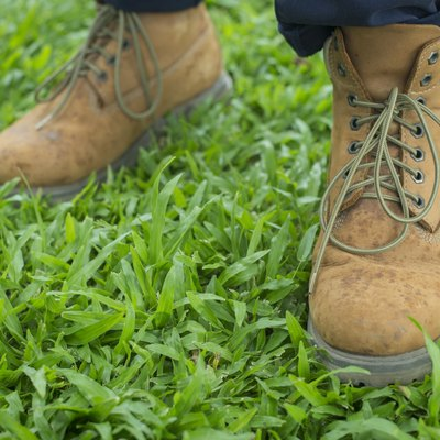 Boots on grass background/A vintage boots on grass,selective foc