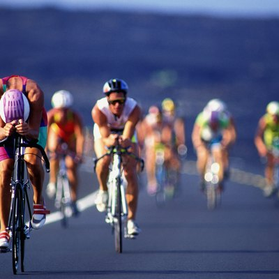 Iron man triathlon cyclists (defocussed)