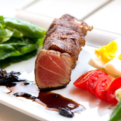 Grilled tuna on a plate