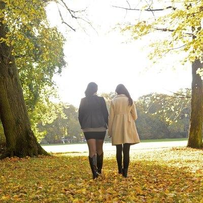 girlfriends walking