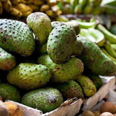 Soursop fruit on asian market, Philippines