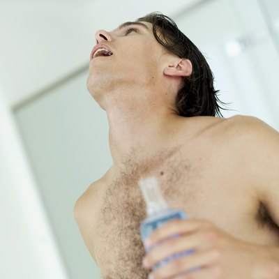 close-up of a man gargling