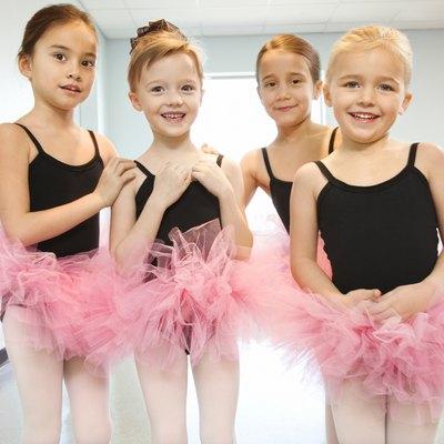Portrait of girls in ballet class