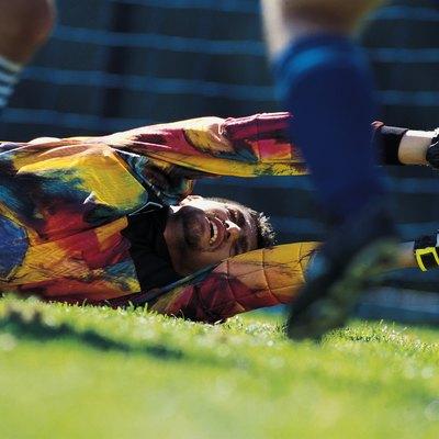 Goalie making save in soccer