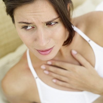 close-up of a woman with a sore throat