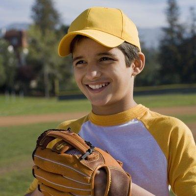 Portrait of boy with baseball mitt