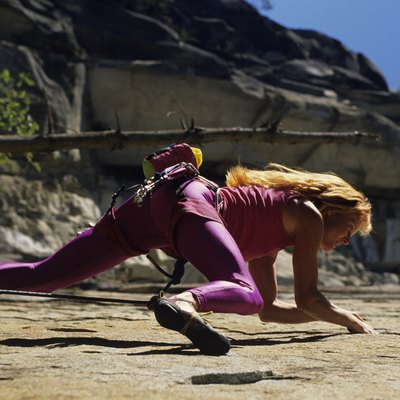 Female rock climber, Washington, USA, low angle view