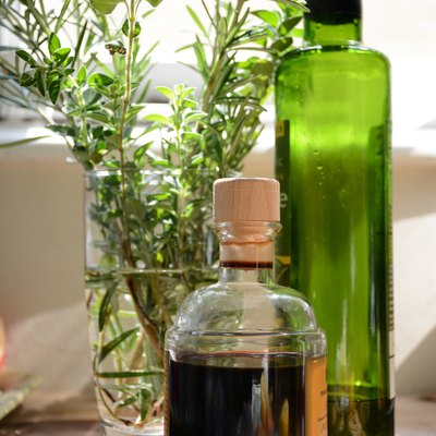herbs, oil, and vinegar