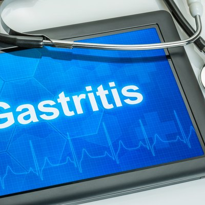 Tablet with the diagnosis gastritis on the display