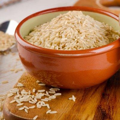natural brown rice in    bowl .