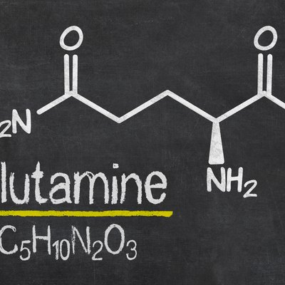 Blackboard with the chemical formula of Glutamine
