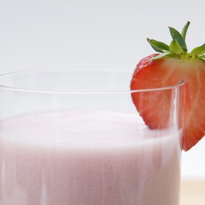 Close up of strawberry milkshake