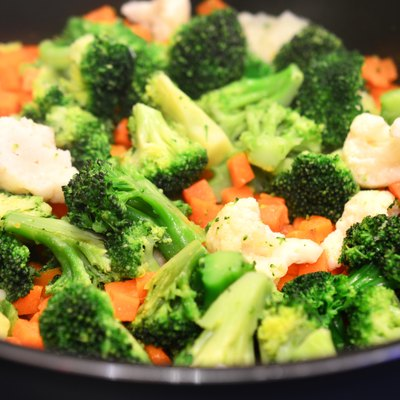 Steamed vegetables closeup