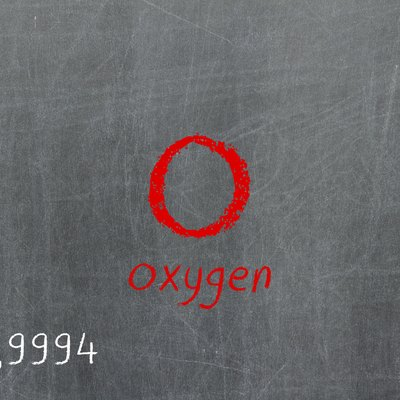 Isolated blackboard with periodic table, Oxygen