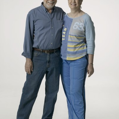Senior couple, posing in studio, portrait