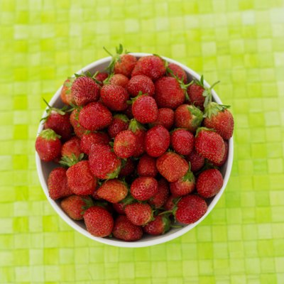 high angle view of strawberries in a bowl