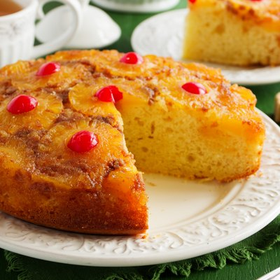 Upside down pineapple cake with caramel.