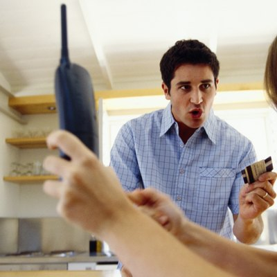 Couple arguing over credit card