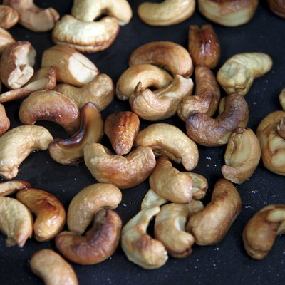 Roasted cashews in the pan.