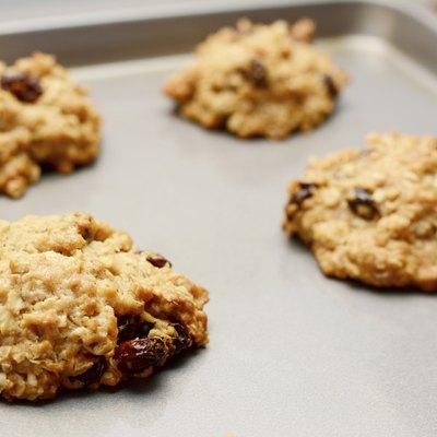 Freshly baked oatmeal raisin cookies