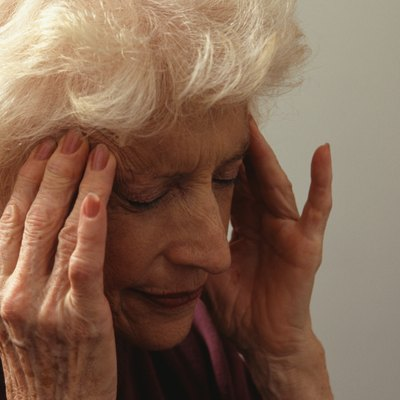 Woman with headache, (Close-up)