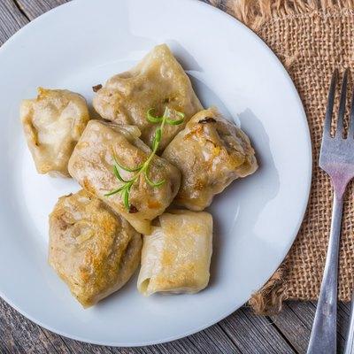 Pierogi (dumplings with sauerkraut and mushrooms)