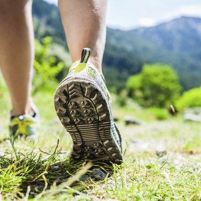 Walking legs on green grass in mountains