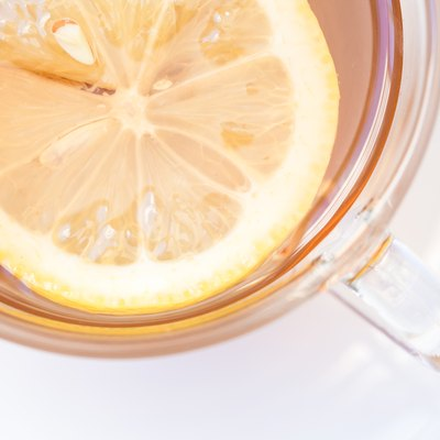 Lemon slice in a cup of tea