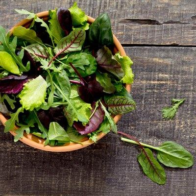 Fresh green mixed salad in a bowl