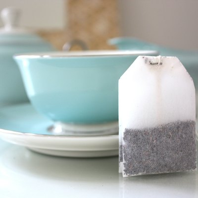 Teabag and tea service.