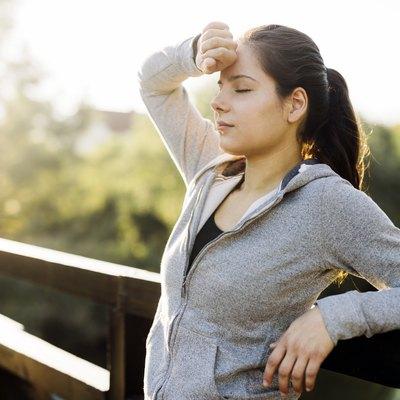 Fatigued woman taking a break