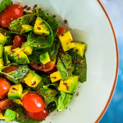 Vegetarian salad, spinach, avocado