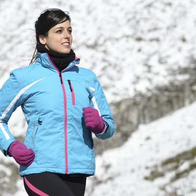Female athlete winter running