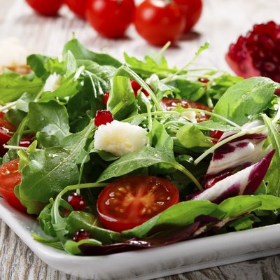 salad with Parmesan cheese and pomegranate